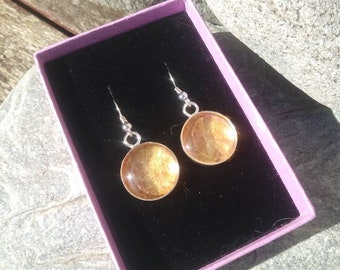 Gold Felt Drop Earrings, Silver Plated Handmade Earrings, Boho Jewelry/Jewellery, Gift For Her - Felt Isle FEGD