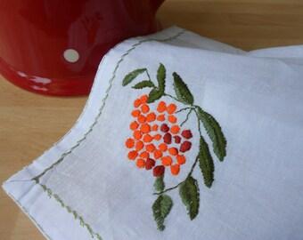 Rowan Berry Embroidered Napkin on White Linen