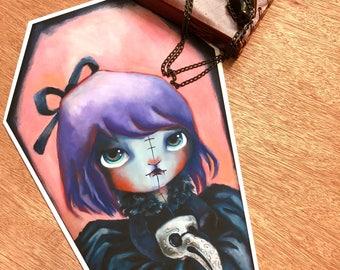 Nomiie, Annabelle Lee, Vampire, Cute Creepy, Coffin, Pop Art, Lowbrow Art,Whimsical Art ~by Dianne Romero B