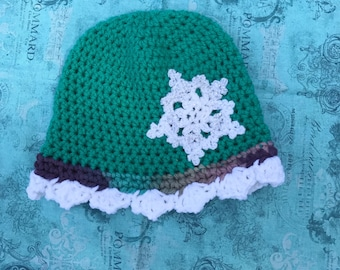 CLEARANCE/SALE ITEM: Winter Hat, Crochet Hat, Snowflake, Hand Made
