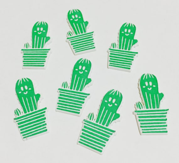 Laser Cut Supplies-8 Pieces. Cute Cactus  Charms - Laser Cut Acrylic-Earring Supplies- Little Laser Lab Acrylic Products