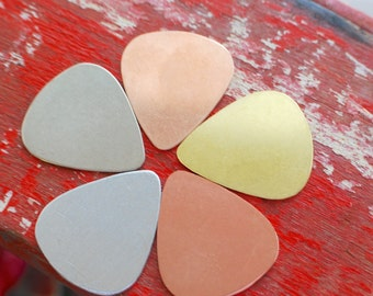 Guitar Pick Stamping Blank - Qty 5 - one inch - You choose your metal  debured