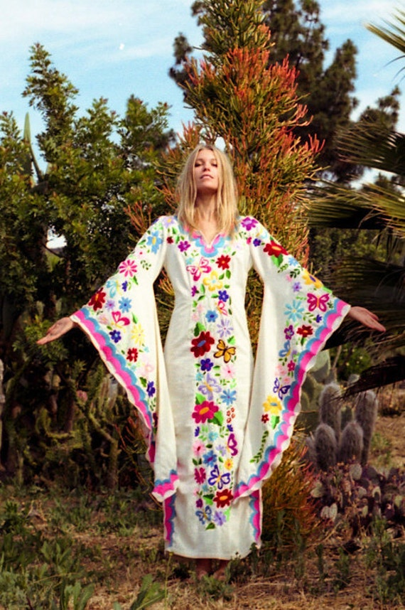Ready to ship Beach Kaftan Dress Pink and Blue Butterfly