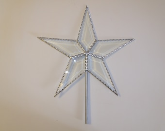 Beveled Glass Star Christmas Tree Topper, Classic Simple Five Point Star, 10.5 Inch with Scalloped Edges