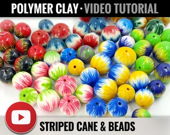 Polymer Clay Tutorial Vol.17: DIY How to make Striped Polymer Clay Cane and Beads - Millefiori Technique - New Technique - Instant Access