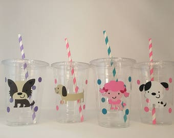 Puppy party cups, Puppy Birthday Party, Dog Party Cups, Adopt a Pet Party, Dog Birthday Party Cups, Dog Baby Shower Cups