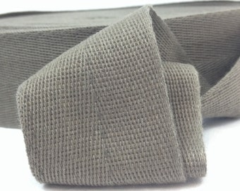 Cotton Twill Tape 2 inches wide 10 yards long Gray Grey