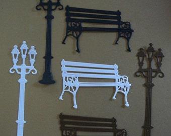 2pc. Bench Street light Die Cut Embellishment Set for Scrapbooking & Card Making
