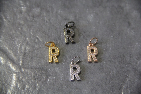 """CZ Micro Pave Letter """"R"""" Charm with Jump Ring"""