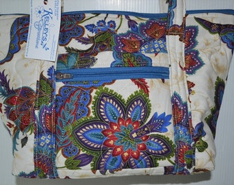 Quilted Fabric Bag Beige with Beautiful Colorful Flowers