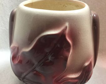 Royal Copley Burgundy/Plum Colored Leaf Vase / Garden Planter (#062)