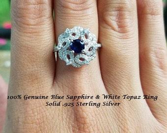 Genuine Blue Sapphire & White Topaz Ring