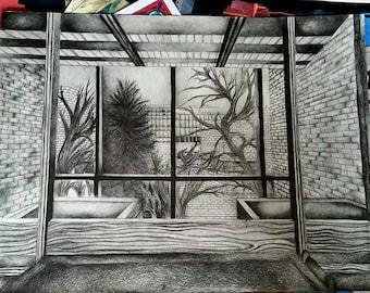 Landscape Perspective Drawing, Graphite Pencil Art, Original Drawing
