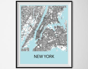 New York Map Poster Print - Black and White