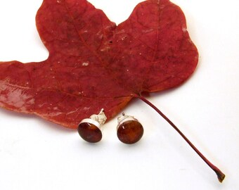 30 Percent off SALE Autumn Leaf Earrings - Sterling Silver and Resin earrings on Wires - Nature Artisan Jewelry from the Captured Collection