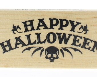 Inkadinkado Happy Halloween Creepy Skull Greeting Wooden Rubber Stamp