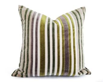Green Velvet Pillow, Striped Throw Pillow, Cream Green Pillows, Green Purple Pillow, Contemporary Decor, Lumbar Pillow, 12x18, 18, 20