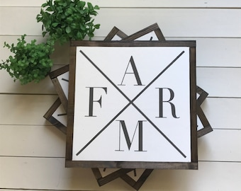 "FARM | handmade wood sign | 13"" x 13"" 