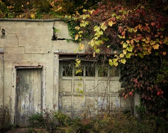 Green and Gold Wall Decor, Rustic Photography, Autumn Home Decor, Chester NJ, Old Building Country Landscape Fall Print