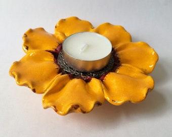 Keramische Waxinelichthouder serviesje-aardewerk, keramiek bloem, bloem ornament, keramische verlichting, keramische sieraad
