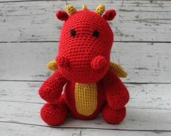 Fire the Dragon, Crochet Dragon, Stuffed Animal, Dragon Amigurumi, Plush Animal, MADE TO ORDER