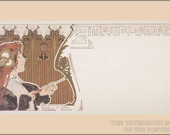 Poster, Many Sizes Available; Art Nouveau P2 Ameublement C1890 By Henri Privat-Livemont (1861–1936)