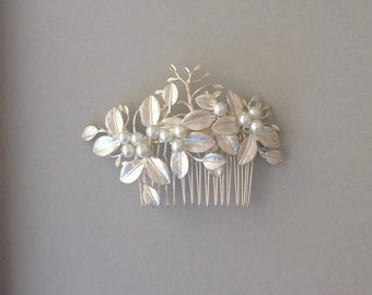 Silver Bridal Hair Comb, Crystal, Pearl Hair Comb, Gifts for Her, Silver Leaf Comb, Bridal Comb, Boho Hair Comb, Large Comb 1 (S)