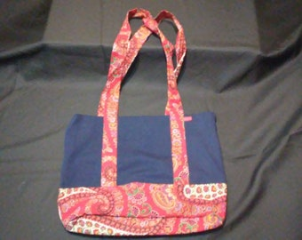 Denim Tote w/ Vintage 70's Red Paisley