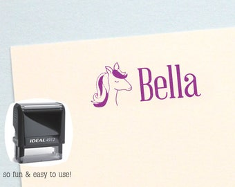 Personalized Kids Gift, Horse Self Inking Name Stamp, Personalized Birthday Gift, Kids Name Stamp, Horse Kid Stamp, AK142