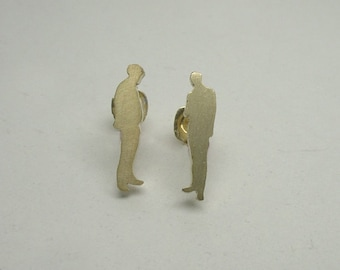 Tiny People Ear Studs (A) - Sterling Silver Gold Plated