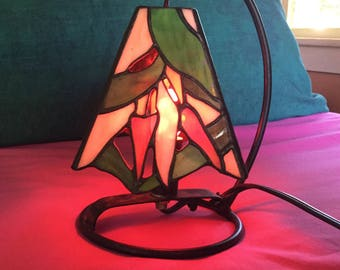 Vintage Stained Glass Chili Pepper Lamp