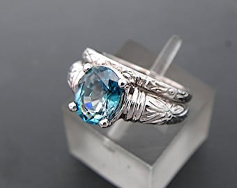 AAAA Blue Zircon   9x7mm  2.57 Carats   Antique Floral Bridal set 14K white gold. Great color that matches Paraiba Tourmalines. 351