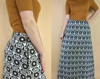 Vintage 1970s tapestry maxi skirt, 70s folk skirt, boho woven skirt, embroidered skirt, Summit of Boston, retro maxi skirt, tapestry skirt