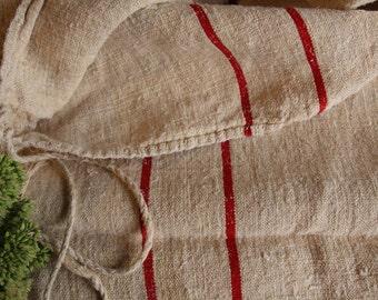 B555:  Grain Sack antique WARM RED pillow benchcushion french lin 44.09 long wedding decoration