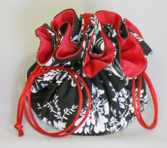Jewelry Drawstring Tote---Organizer Travel Pouch---Black & White Damask Fabric---Regular Size