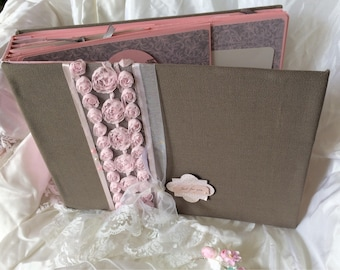 "Romantic wedding invitation book taupe and pink powder ""so romantic »"