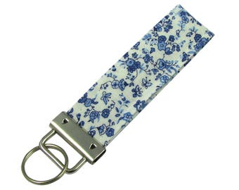 Key Chain / Key Fob Blue Toile With Optional Initials