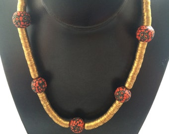 Tribal Gold Tone Necklace