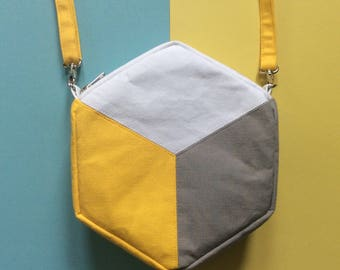 Hexagon / Cube Cross body bag, Colour Block Handbag, Geometric design handbag Yellow  and Grey with gusset, cotton canvas handmade