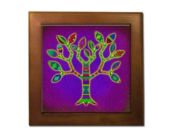 Decorative tree of life ceramic tile trivet, Jewish hot plate, Judaica home decor, housewarming, orginal art in framed tile, eitz chayim,