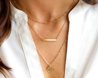 Personalized Layered Monogram Necklace | Gold Layered Necklace | Monogram Layered Necklace | Personalized Layered Necklace | Gold Necklaces