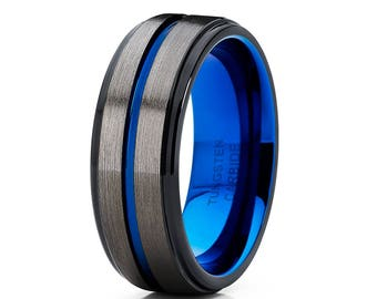 Blue tungsten ring Etsy
