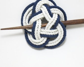 Sailor Knot Hair Stick Barrette in Navy and White