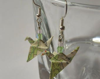 OS Map Origami Crane Hook Wire Earrings