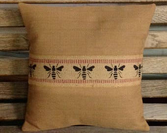 Honey Bee Pillow, Rustic Burlap and Cotton Bumblebee Pillow Cover by sweet janes plan