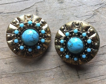 Bohemian, Indian, Eastern style vintage clip on earrings in gold tone with turquoise colored stones