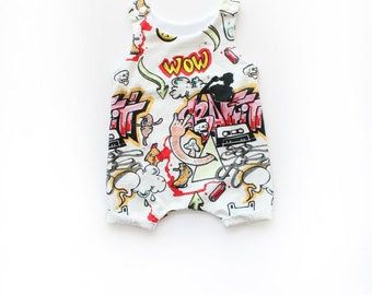 Graffiti Romper Shorts / Baby Romper / Unisex Romper / Onepiece Outfit / Baby Toddler Romper / Spray Paint / Hipster Baby Clothes / 0-2/3T