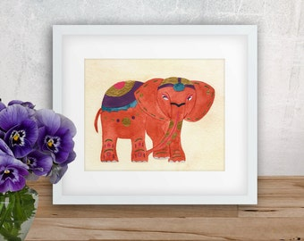 Orange Thai Elephant Watercolor Art Print --- Beautiful Home Decor Piece