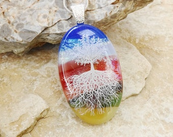 Scenic Tree of Life Pendant, Oval Fused Glass Pendant, Dichroic Fused Glass Necklace, White Tree of Life Pendant, Dichroic Jewelry