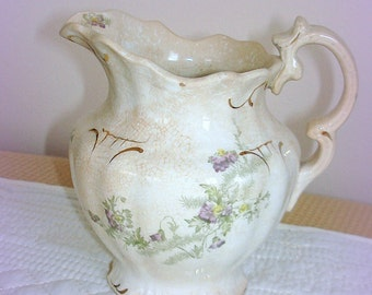 Antique Creamer Small Pitcher Early 1900's Semi Vitreous China J & E Mayer Pottery True Collector's Piece in Excellent Antique Condition